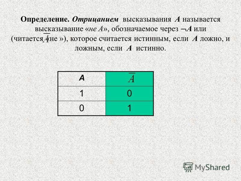 Определение. Отрицанием высказывания A называется высказывание «не A», обозначаемое через A или (читается «не »), которое считается истинным, если А ложно, и ложным, если А истинно. A 10 01