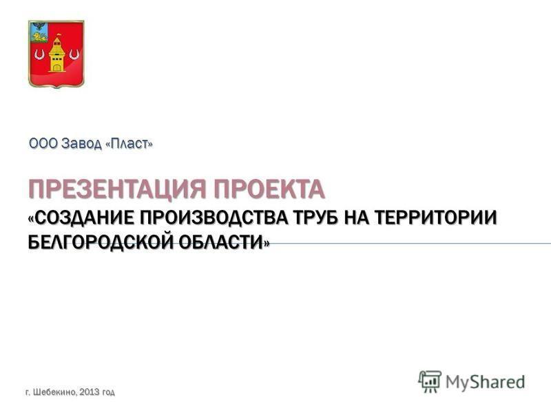 ПРЕЗЕНТАЦИЯ ПРОЕКТА «СОЗДАНИЕ ПРОИЗВОДСТВА ТРУБ НА ТЕРРИТОРИИ БЕЛГОРОДСКОЙ ОБЛАСТИ» ООО Завод «Пласт» г. Шебекино, 2013 год