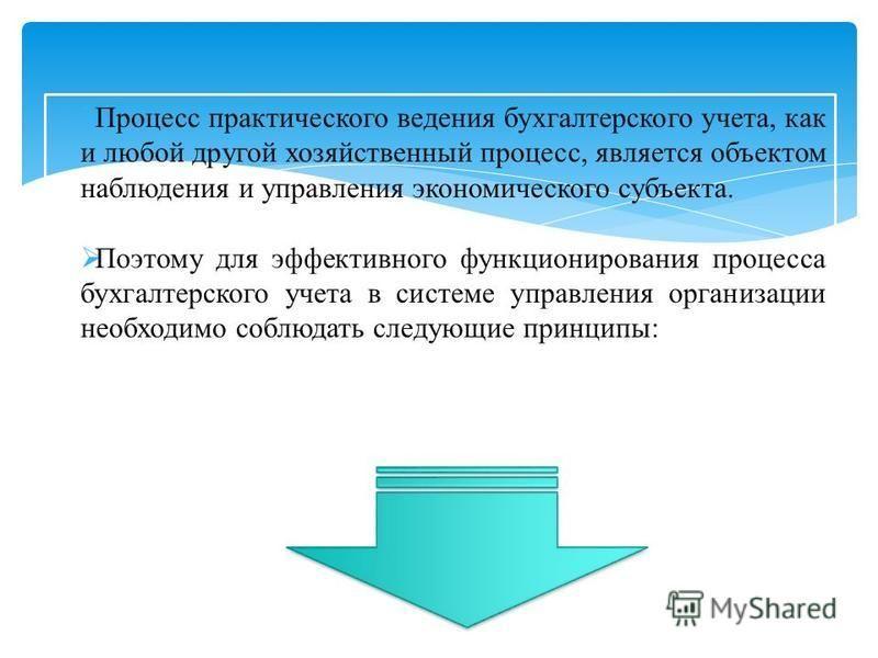 Процесс практического ведения бухгалтерского учета, как и любой другой хозяйственный процесс, является объектом наблюдения и управления экономического субъекта. Поэтому для эффективного функционирования процесса бухгалтерского учета в системе управле