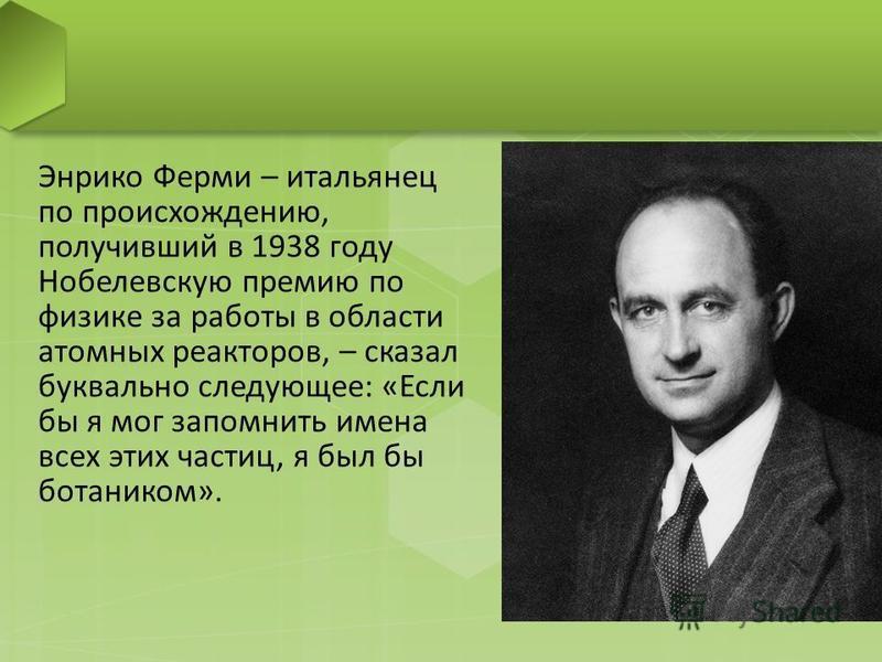 Энрико Ферми – итальянец по происхождению, получивший в 1938 году Нобелевскую премию по физике за работы в области атомных реакторов, – сказал буквально следующее: «Если бы я мог запомнить имена всех этих частиц, я был бы ботаником».