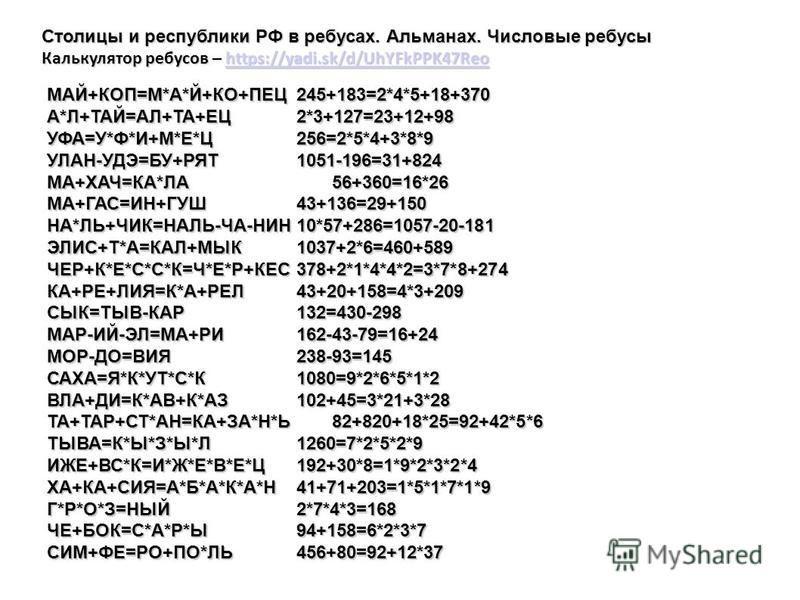 Столицы и республики РФ в ребусах. Альманах. Числовые ребусы Калькулятор ребусов – https://yadi.sk/d/UhYFkPPK47Reo https://yadi.sk/d/UhYFkPPK47Reo МАЙ+КОП=М*А*Й+КО+ПЕЦ245+183=2*4*5+18+370 А*Л+ТАЙ=АЛ+ТА+ЕЦ2*3+127=23+12+98 УФА=У*Ф*И+М*Е*Ц256=2*5*4+3*8*
