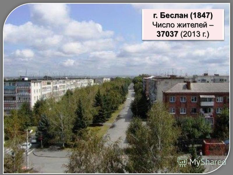 г. Беслан (1847) Число жителей – 37037 (2013 г.) г. Беслан (1847) Число жителей – 37037 (2013 г.)