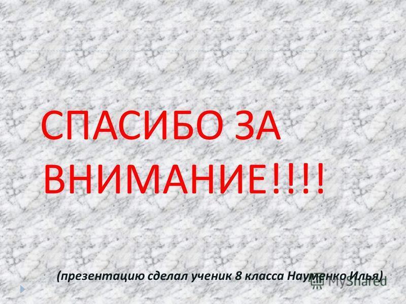 СПАСИБО ЗА ВНИМАНИЕ !!!! ( презентацию сделал ученик 8 класса Науменко Илья )