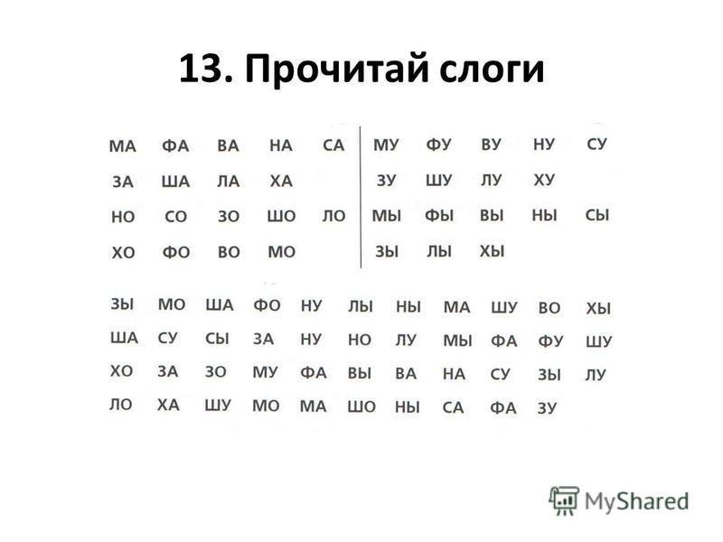 13. Прочитай слоги