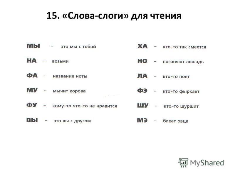 15. «Слова-слоги» для чтения