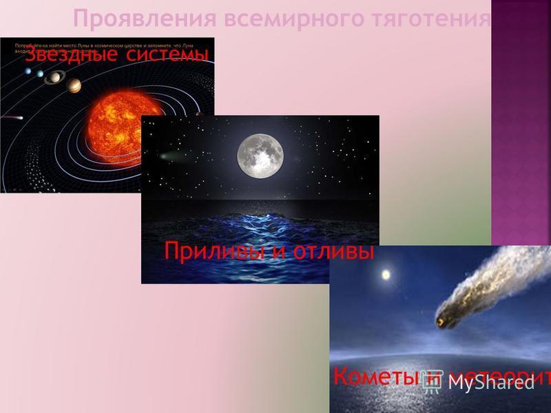 Проявления всемирного тяготения Звездные системы Приливы и отливы Кометы и метеориты