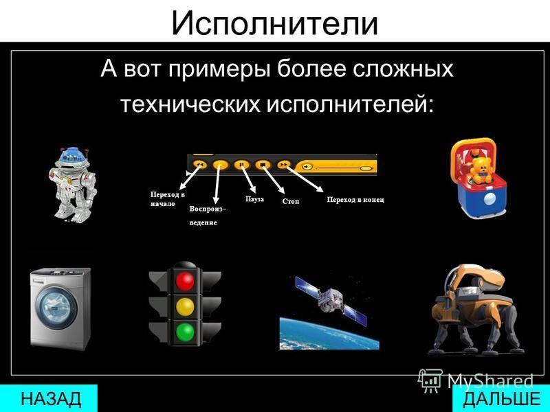 Исполнители Кнопка включения/выключения питания монитора или любого другого электроприбора является одним из самых простых технических исполнителей. ДАЛЬШЕ НАЗАД