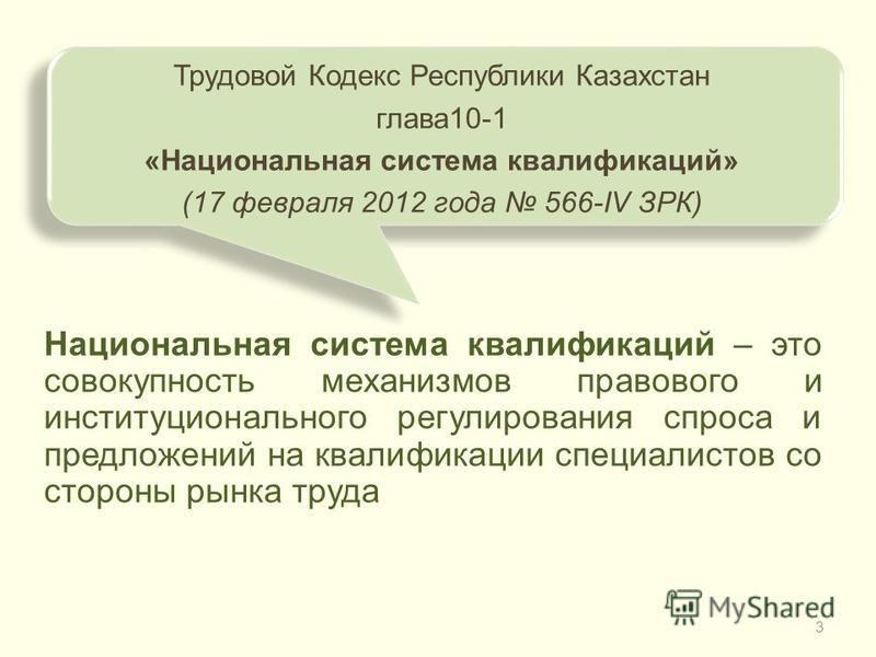3 Национальная система квалификаций – это совокупность механизмов правового и институционального регулирования спроса и предложений на квалификации специалистов со стороны рынка труда Трудовой Кодекс Республики Казахстан глава 10-1 «Национальная сист