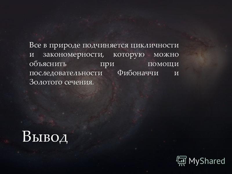 Все в природе подчиняется цикличности и закономерности, которую можно объяснить при помощи последовательности Фибоначчи и Золотого сечения. Вывод