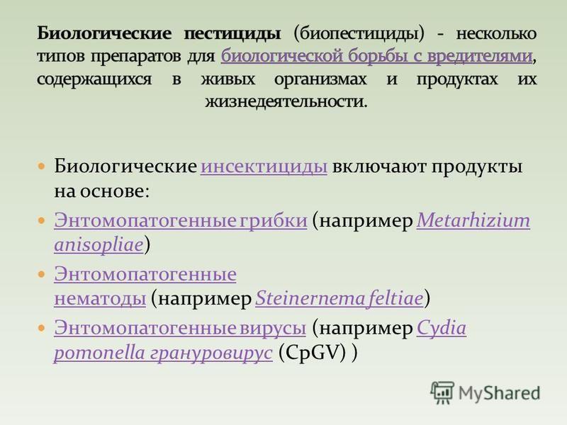 Биологические инсектициды включают продукты на основе:инсектициды Энтомопатогенные грибки (например Metarhizium anisopliae) Энтомопатогенные грибкиMetarhizium anisopliae Энтомопатогенные нематоды (например Steinernema feltiae) Энтомопатогенные немато