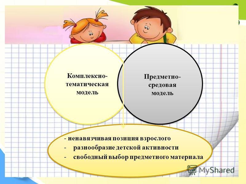 18 Комплексно- тематическая модель Предметно- средовая модель - ненавязчивая позиция взрослого -разнообразие детской активности -свободный выбор предметного материала.