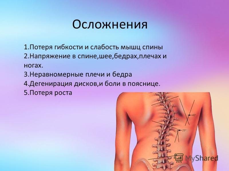 Осложнения 1. Потеря гибкости и слабость мышц спины 2. Напряжение в спине,шее,бедрах,плечах и ногах. 3. Неравномерные плечи и бедра 4. Дегенирация дисков,и боли в пояснице. 5. Потеря роста