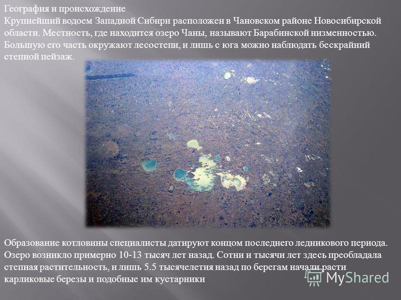 География и происхождение Крупнейший водоем Западной Сибири расположен в Чановском районе Новосибирской области. Местность, где находится озеро Чаны, называют Барабинской низменностью. Большую его часть окружают лесостепи, и лишь с юга можно наблюдат