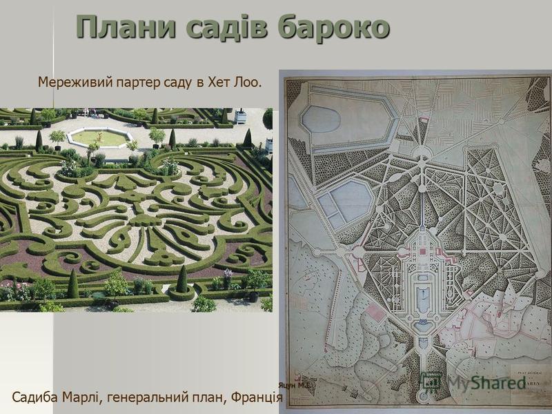 Плани садів бароко Мереживий партер саду в Хет Лоо. Садиба Марлі, генеральний план, Франція Яцун М.І.