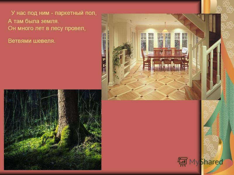 У нас под ним - паркетный пол, А там была земля. Он много лет в лесу провел, Ветвями шевеля.