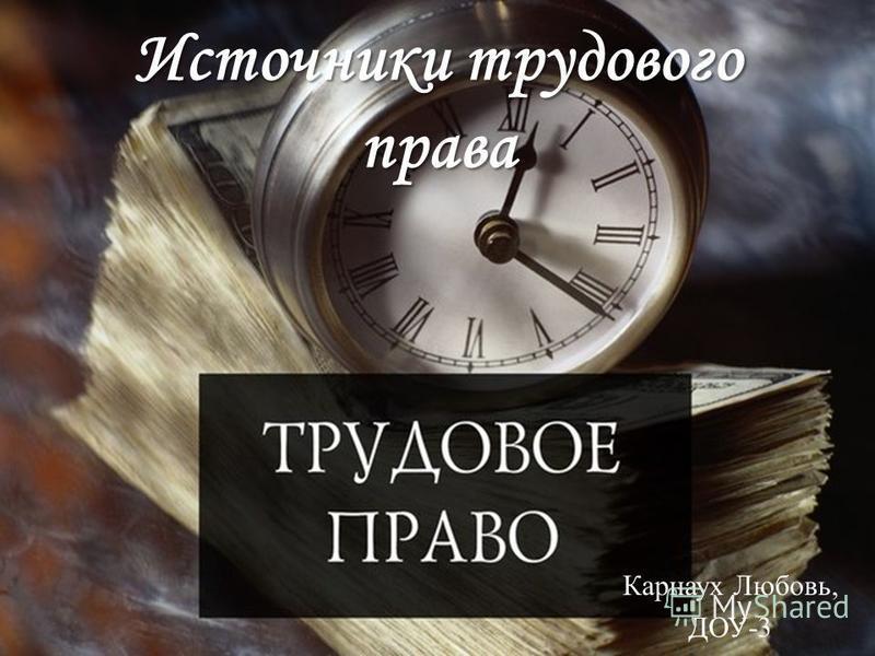 Источники трудового права Карнаух Любовь, ДОУ-3