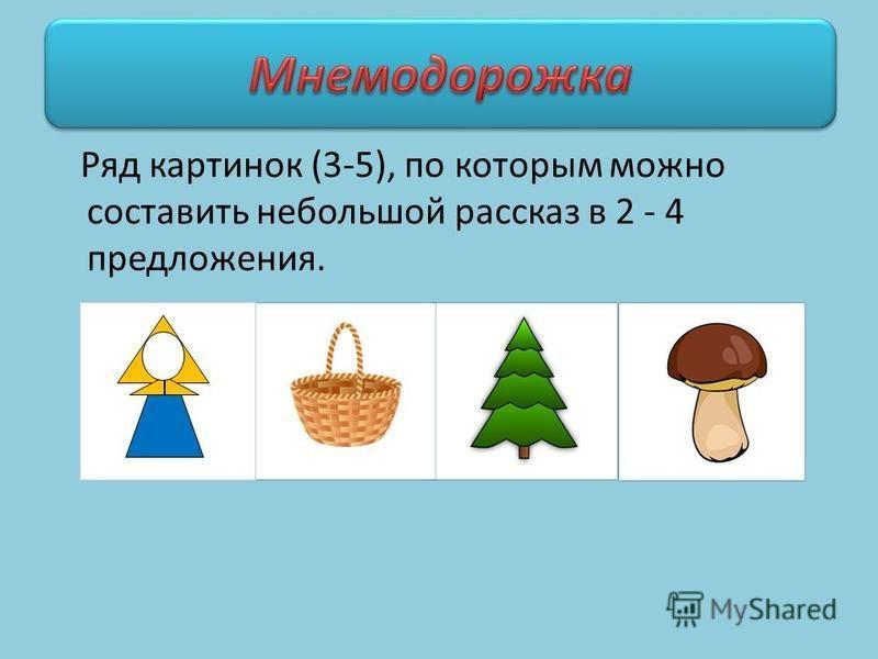 Ряд картинок (3-5), по которым можно составить небольшой рассказ в 2 - 4 предложения.