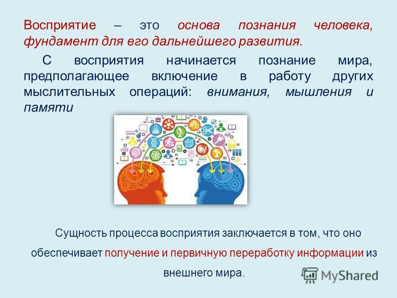Восприятие – это основа познания человека, фундамент для его дальнейшего развития. С восприятия начинается познание мира, предполагающее включение в работу других мыслительных операций: внимания, мышления и памяти Сущность процесса восприятия заключа
