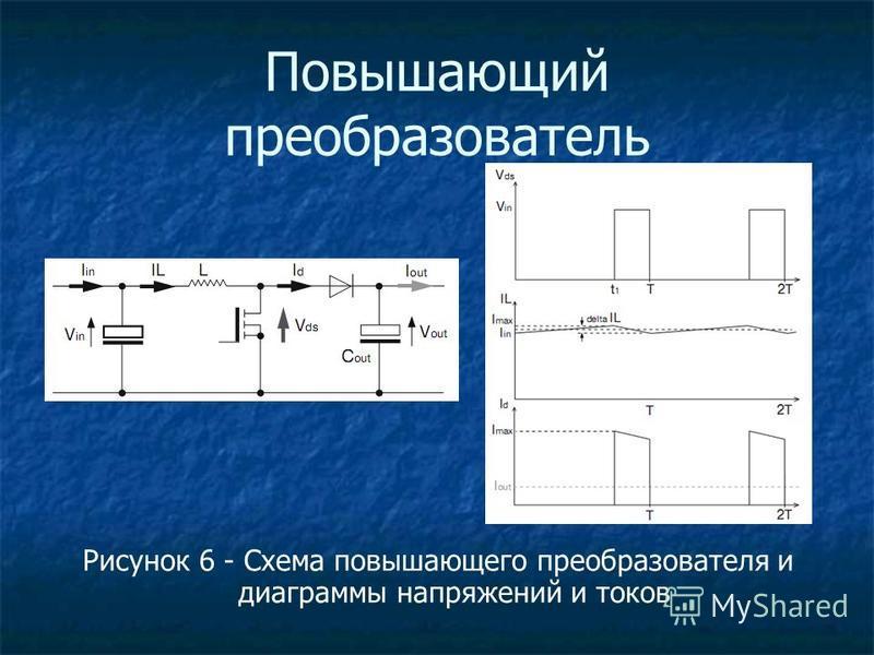 Повышающий преобразователь Рисунок 6 - Схема повышающего преобразователя и диаграммы напряжений и токов