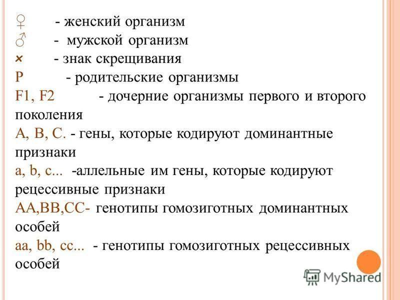 Г ЕНЕТИЧЕСКАЯ СИМВОЛИКА