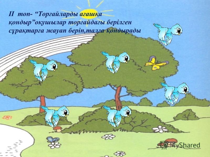 II топ- Торғайларды ағашқа қондыроқушылар торғайдағы берілген сұрақтарға жауап беріп,талға қондырады