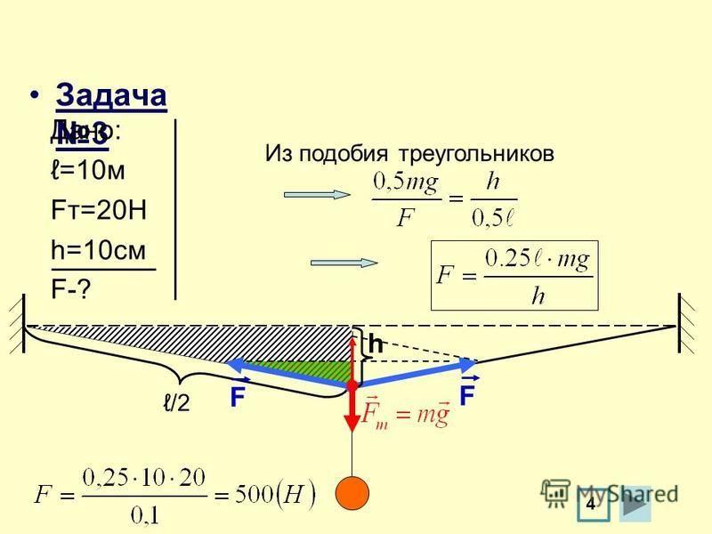 Задача 3 h F F /2 4 Из подобия треугольников Дано: =10 м Fт=20Н h=10 см F-?