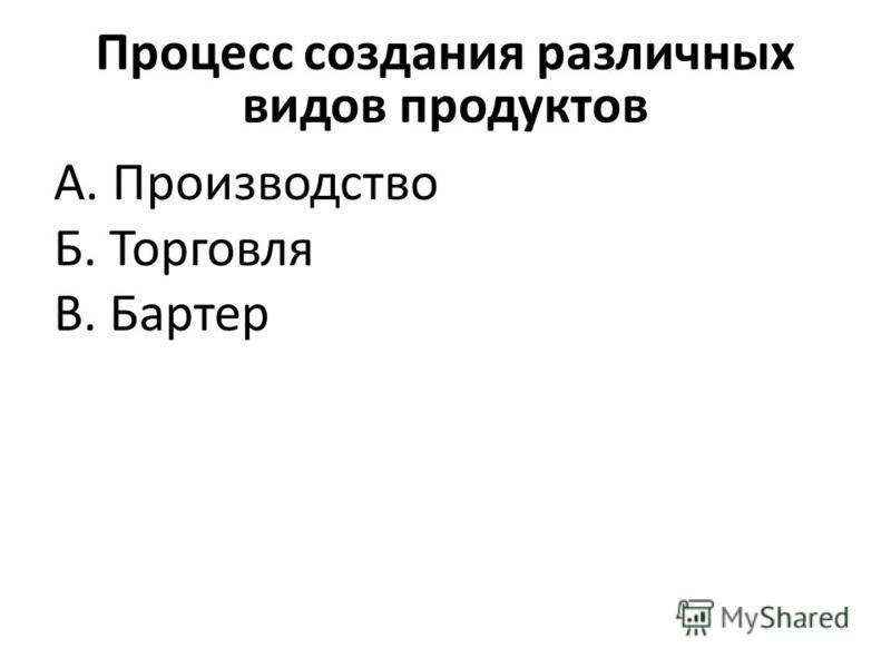 Процесс создания различных видов продуктов А. Производство Б. Торговля В. Бартер