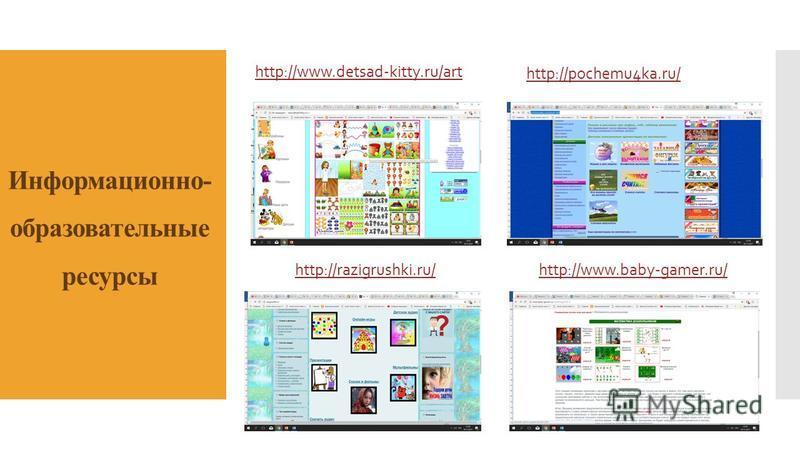 Информационно- образовательные ресурсы http://www.detsad-kitty.ru/art http://pochemu4ka.ru/ http://www.baby-gamer.ru/http://razigrushki.ru/