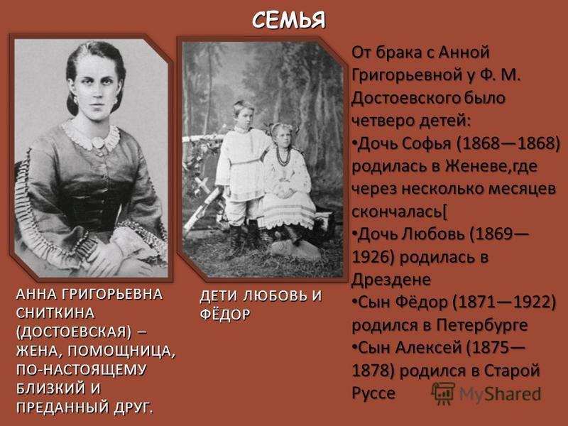 От брака с Анной Григорьевной у Ф. М. Достоевского было четверо детей : Дочь Софья (18681868) родилась в Женеве, где через несколько месяцев скончалась [ Дочь Софья (18681868) родилась в Женеве, где через несколько месяцев скончалась [ Дочь Любовь (1