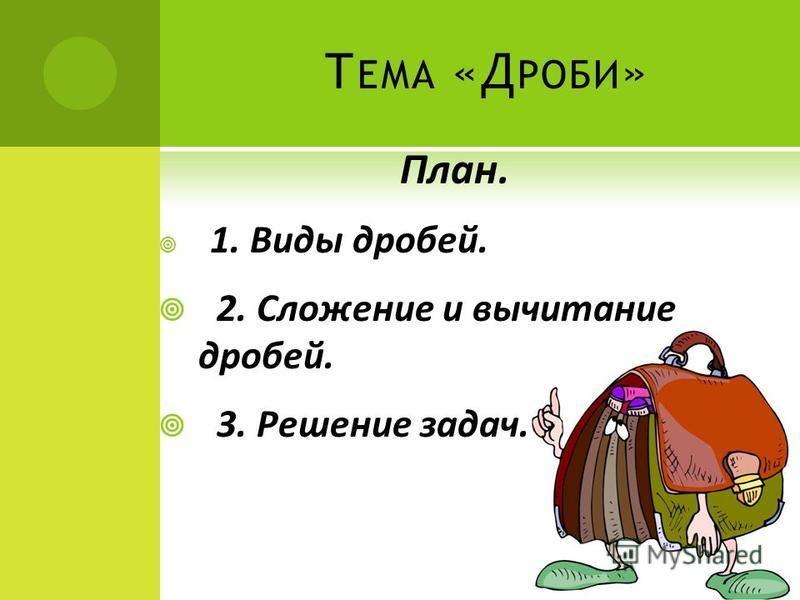 Т ЕМА «Д РОБИ » План. 1. Виды дробей. 2. Сложение и вычитание дробей. 3. Решение задач.