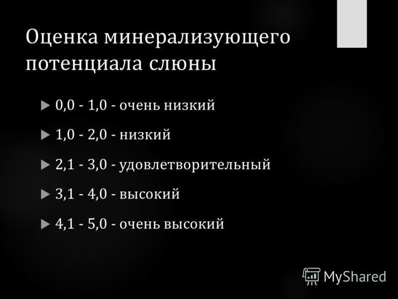 Оценка минерализующего потенциала слюны 0,0 - 1,0 - очень низкий 1,0 - 2,0 - низкий 2,1 - 3,0 - удовлетворительный 3,1 - 4,0 - высокий 4,1 - 5,0 - очень высокий
