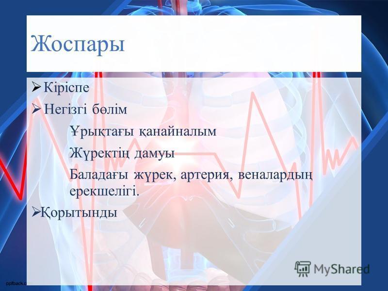 Жоспары Кіріспе Негізгі бөлім Ұрықтағы қанайналым Жүректің дамуы Баладағы жүрек, артерия, веналардың ерекшелігі. Қорытынды