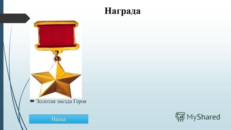 Награда Золотая звезда Героя