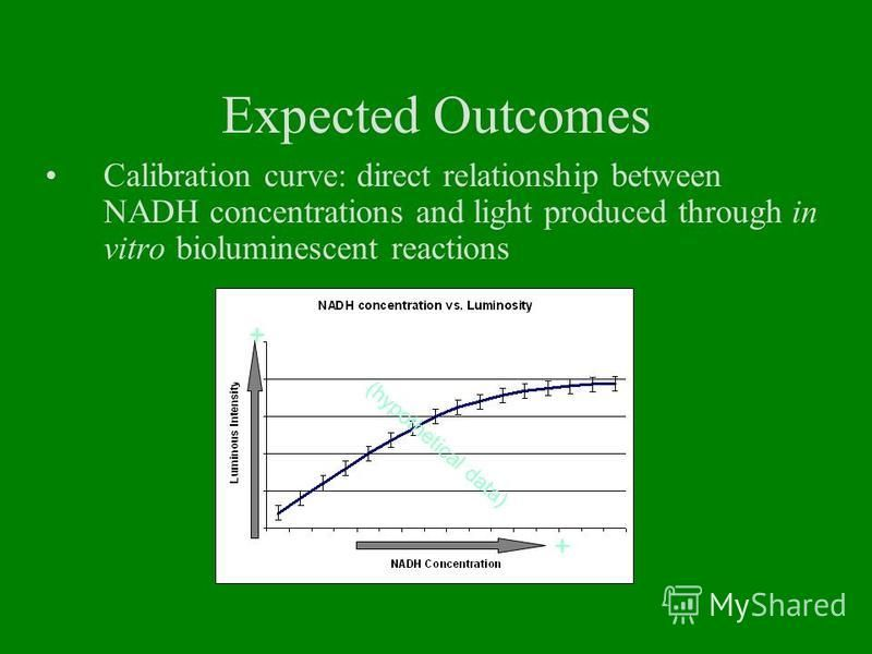Expected Outcomes Calibration curve: direct relationship between NADH concentrations and light produced through in vitro bioluminescent reactions + + (hypothetical data)