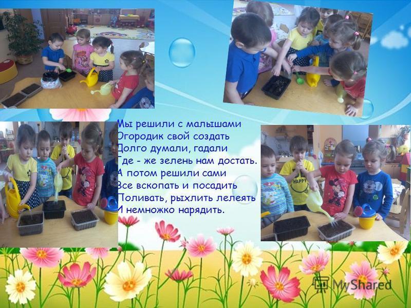 Мы решили с малышами Огородик свой создать Долго думали, гадали Где - же зелень нам достать. А потом решили сами Все вскопать и посадить Поливать, рыхлить лелеять И немножко нарядить.