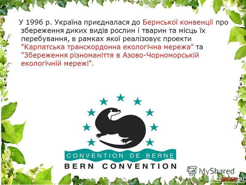 У 1996 р. Україна приєдналася до Бернської конвенції про збереження диких видів рослин і тварин та місць їх перебування, в рамках якої реалізовує проекти