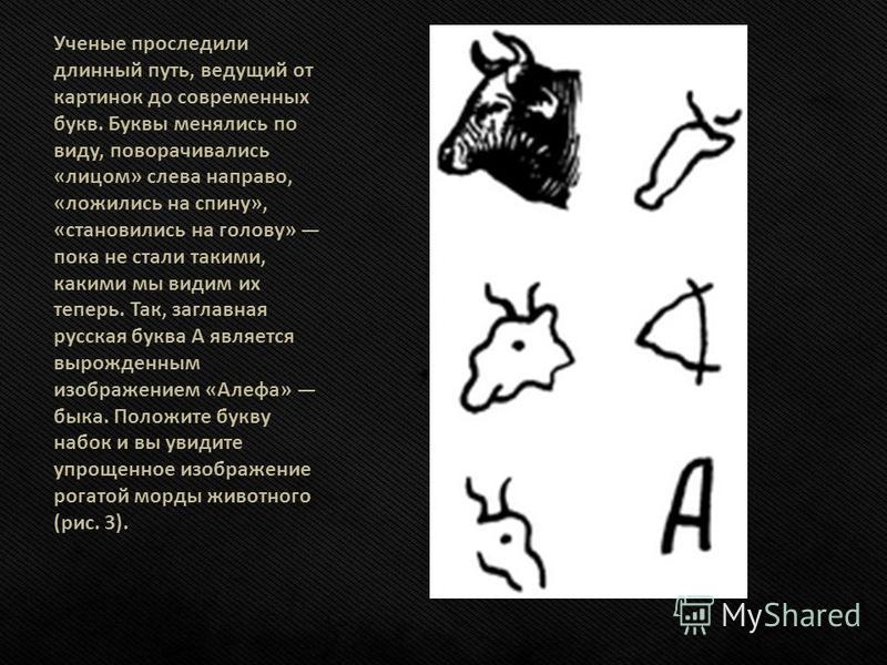 Ученые проследили длинный путь, ведущий от картинок до современных букв. Буквы менялись по виду, поворачивались «лицом» слева направо, «ложились на спину», «становились на голову» пока не стали такими, какими мы видим их теперь. Так, заглавная русска