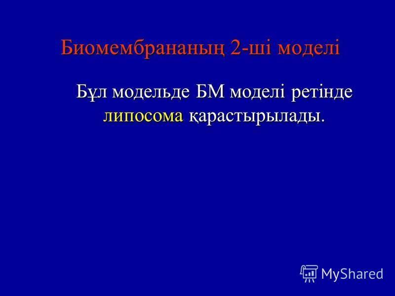 Биомембранныйң 2-ші моделі Бұл модель де БМ моделі ретінде липосома қарастырылады.