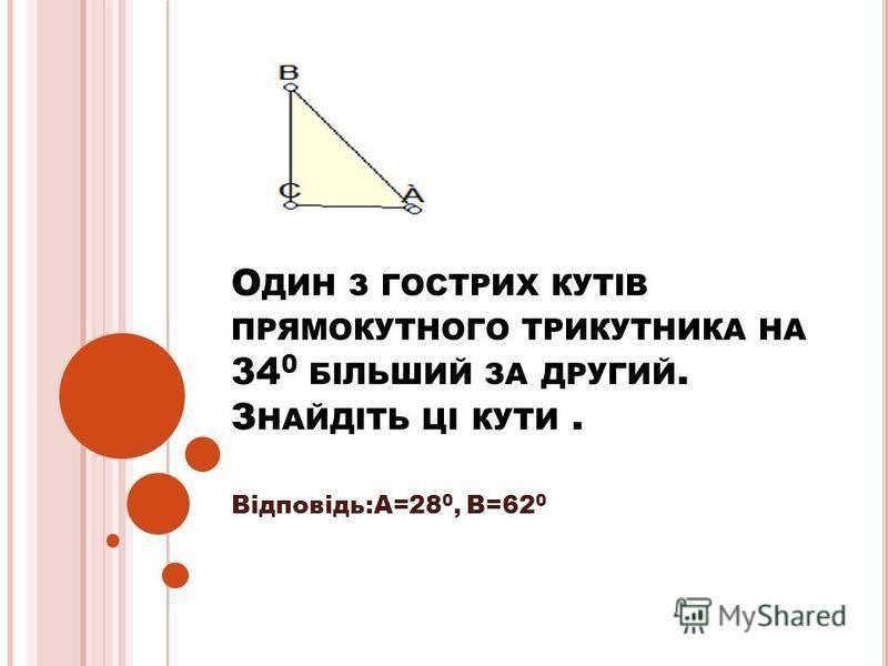 О ДИН З ГОСТРИХ КУТІВ ПРЯМОКУТНОГО ТРИКУТНИКА НА 34 0 БІЛЬШИЙ ЗА ДРУГИЙ. З НАЙДІТЬ ЦІ КУТИ. Відповідь:А=28 0, В=62 0