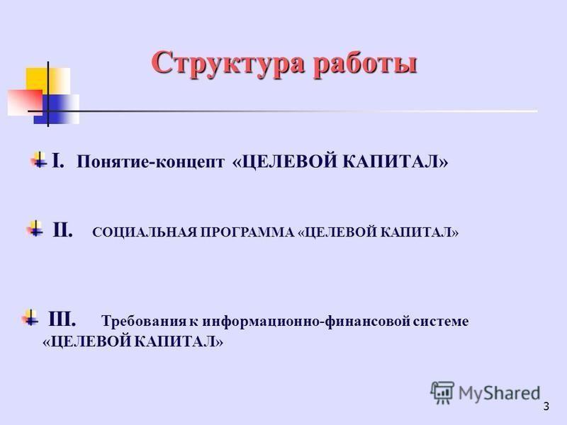 3 Структура работы I. Понятие-концепт «ЦЕЛЕВОЙ КАПИТАЛ» II. CОЦИАЛЬНАЯ ПРОГРАММА «ЦЕЛЕВОЙ КАПИТАЛ» III. Требования к информационно-финансовой системе «ЦЕЛЕВОЙ КАПИТАЛ»