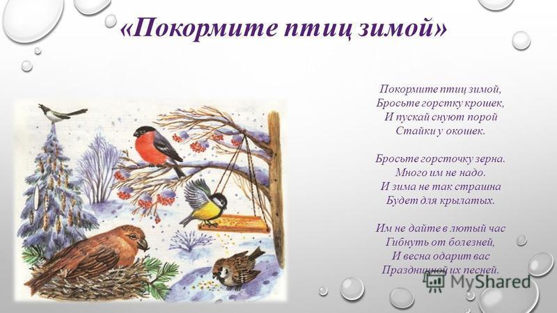 «Покормите птиц зимой» Покормите птиц зимой, Бросьте горстку крошек, И пускай снуют порой Стайки у окошек. Бросьте горсточку зерна. Много им не надо. И зима не так страшна Будет для крылатых. Им не дайте в лютый час Гибнуть от болезней, И весна одари