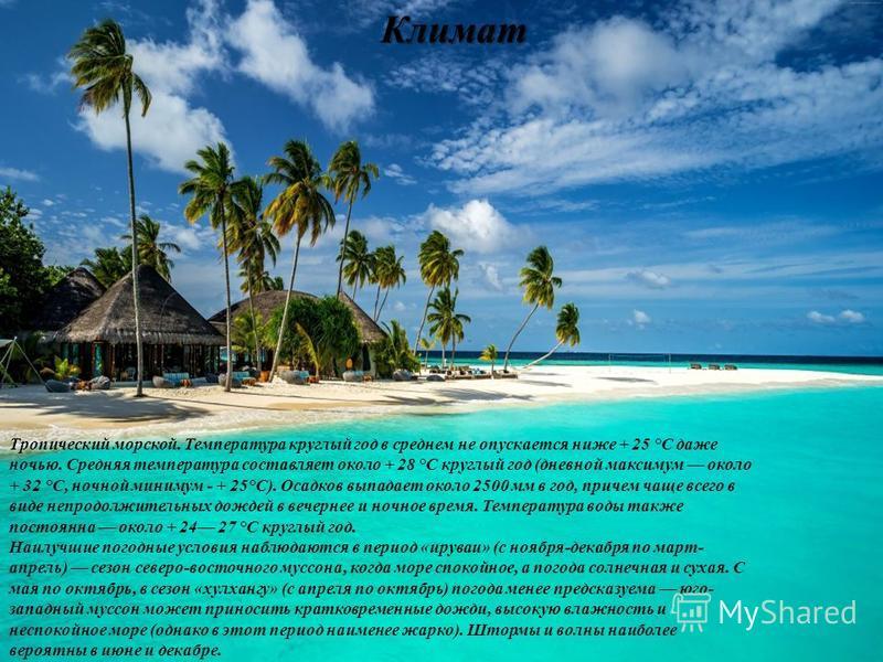 Климат Тропический морской. Температура круглый год в среднем не опускается ниже + 25 °С даже ночью. Средняя температура составляет около + 28 °С круглый год (дневной максимум около + 32 °С, ночной минимум - + 25°С). Осадков выпадает около 2500 мм в