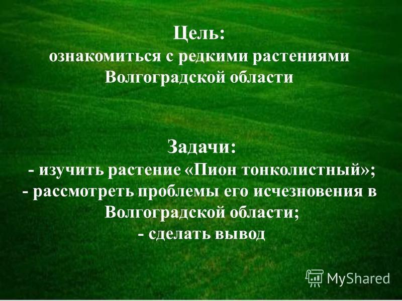 Цель: ознакомиться с редкими растениями Волгоградской области Задачи: - изучить растение «Пион тонколистный»; - рассмотреть проблемы его исчезновения в Волгоградской области; - сделать вывод