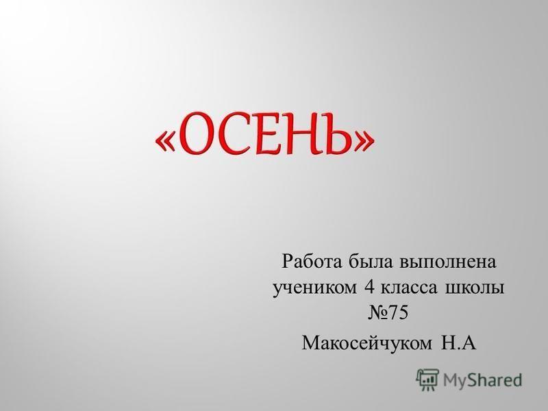 Работа была выполнена учеником 4 класса школы 75 Макосейчуком Н. А