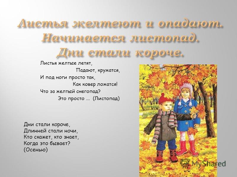 Листья желтые летят, Падают, кружатся, И под ноги просто так, Как ковер ложатся! Что за желтый снегопад? Это просто... (Листопад) Дни стали короче, Длинней стали ночи, Кто скажет, кто знает, Когда это бывает? (Осенью)
