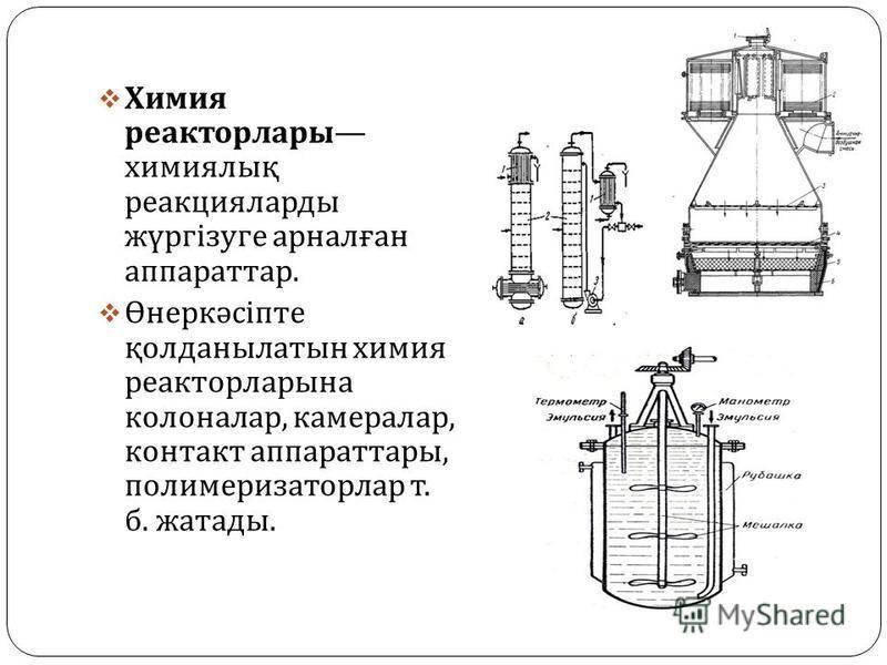 Хххххимия реактор лары хххххимиялық реакцияларды жүргізуге арналған аппарат тар. Өнеркәсіпте қолданылатын хххххимия реактор ларына колоналар, камералар, контакт аппарат тары, полимеризаторлар т. б. жатады.