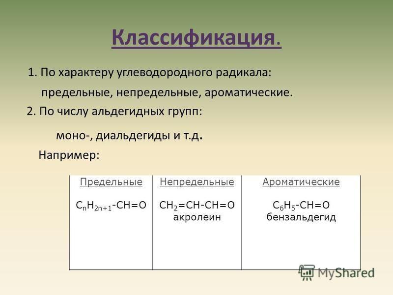 Классификация. 1. По характеру углеводородного радикала: предельные, непредельные, ароматические. 2. По числу альдегидных групп: моно-, диальдегиды и т.д. Например: Предельные C n H 2n+1 -CН=О Непредельные CH 2 =CH-CН=О акролеин Ароматические С 6 H 5