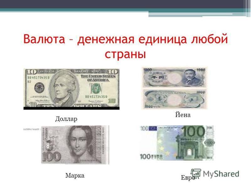 Валюта – денежная единица любой страны Доллар Йена Марка Евро