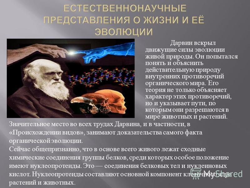 Дарвин вскрыл движущие силы эволюции живой природы. Он попытался понять и объяснить действительную природу внутренних противоречий органического мира. Его теория не только объясняет характер этих противоречий, но и указывает пути, по которым они разр