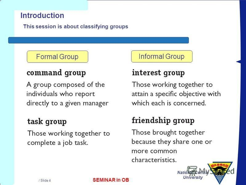 SEMINAR in OB National Central University / Slide 4 Introduction This session is about classifying groups Formal Group Informal Group
